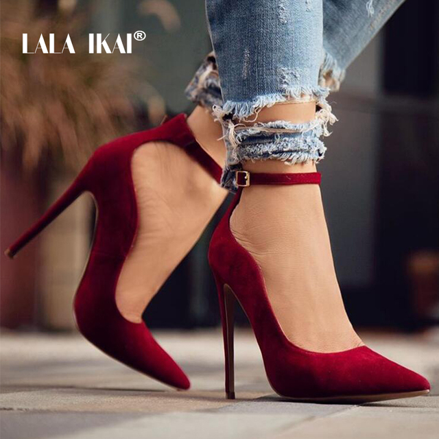LALA IKAI Ladies Flock Curve Pumps Pointed Toe Buckle Strap Super High Heels For Wedding Sapato Salto Feminino 014C1293 -49