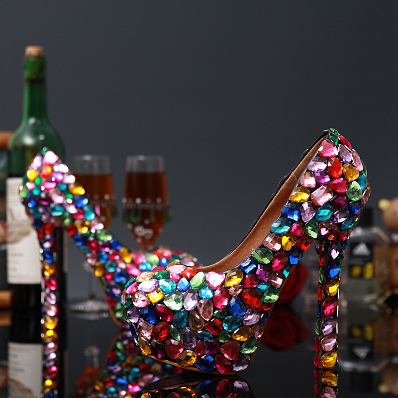 Colorful Crystal Sandals Newest Fashion Dress Shoes Cheap Price Hot Selling Concise Elegant Beautiful Amazing Women Strang Style newest fashion women shoes sandals luxury noble dress shoes cheap price ankle summer party shoes hot selling silver gold metal