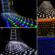 3m2m 200 led net mesh fairy string light christmas wedding party fairy string light with 8 function controller euusau plug - Led Net Christmas Lights