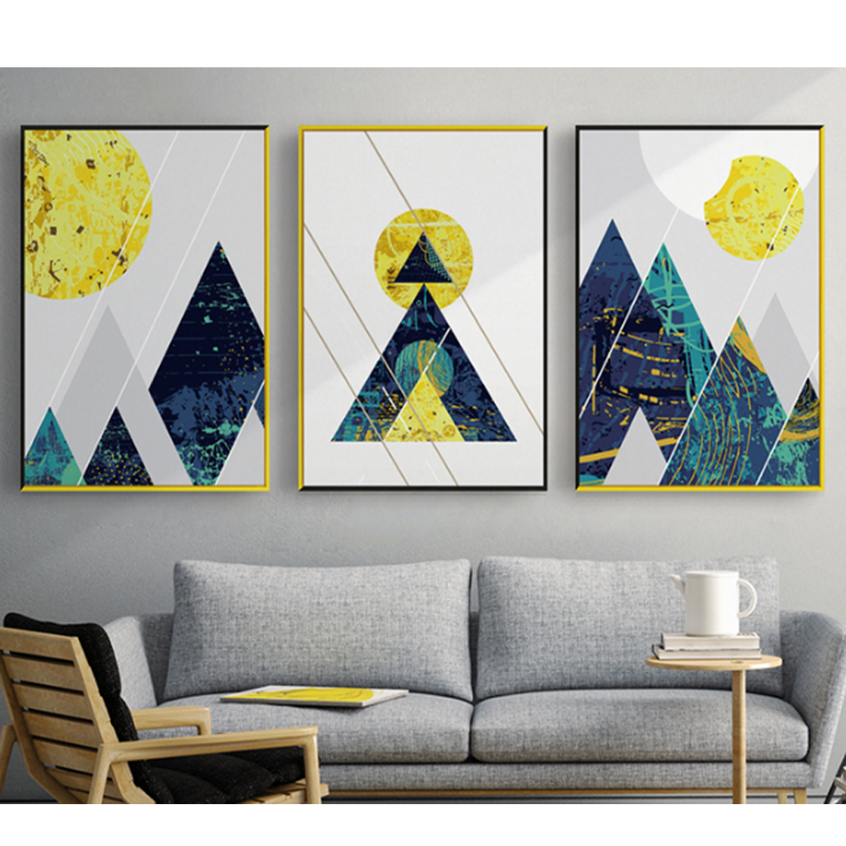 Us 3 49 50 Off Geometric Line Abstract Mountain Blue Canvas Paintings Nordic Poster Print Wall Art Pictures For Living Room Home Office Decor In
