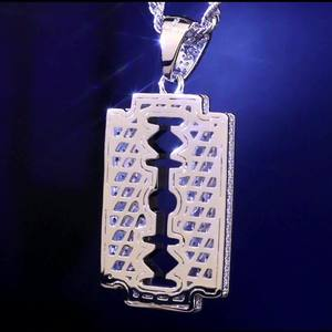 Image 2 - DNSCHIC White Gold Iced Out Double Edged Razor Blade Pendant Hip Hop Necklace Pendant Jewelry for Men Women High Quality