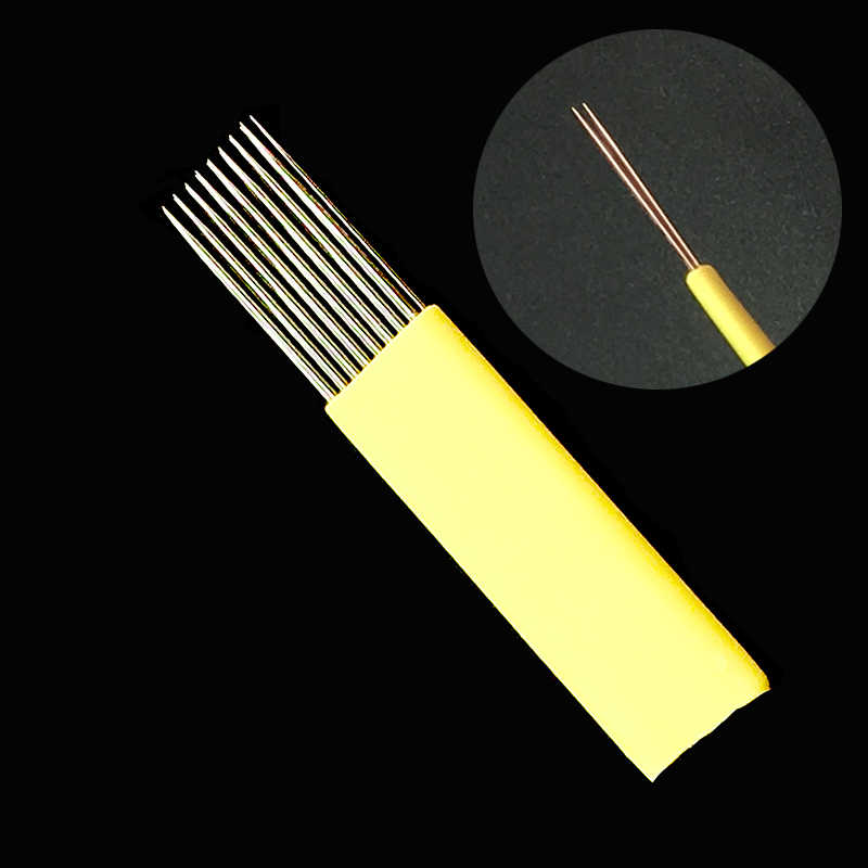 Mezcla 9/15/17/19/21 MI Microblading sombra hoja tatuaje agujas doble filas Microblading aguja agujas para cejas y labios