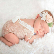 Newborn Lace Rompers Baby Photography Props Clothes for Infant Girls Backless Bow Princess Jumpsuits Clothing SA984366(China)