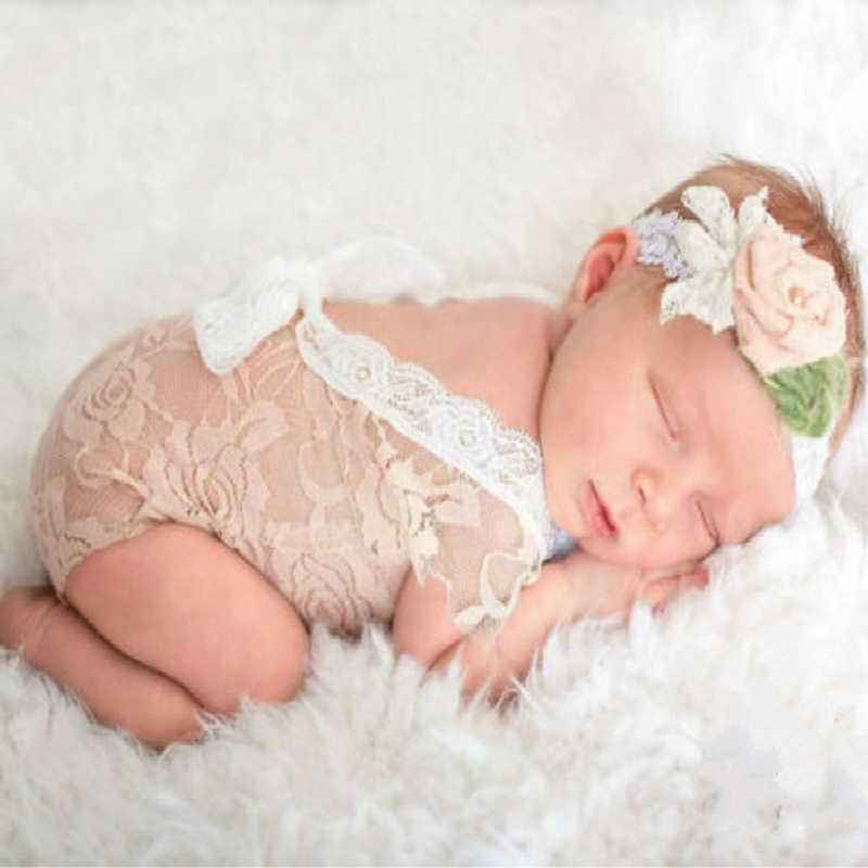 ทารกแรกเกิดลูกไม้ Rompers ทารกถ่ายภาพ Props เสื้อผ้าสำหรับทารกสาวเปลือยโบว์เจ้าหญิง Jumpsuits เสื้อผ้า SA984366