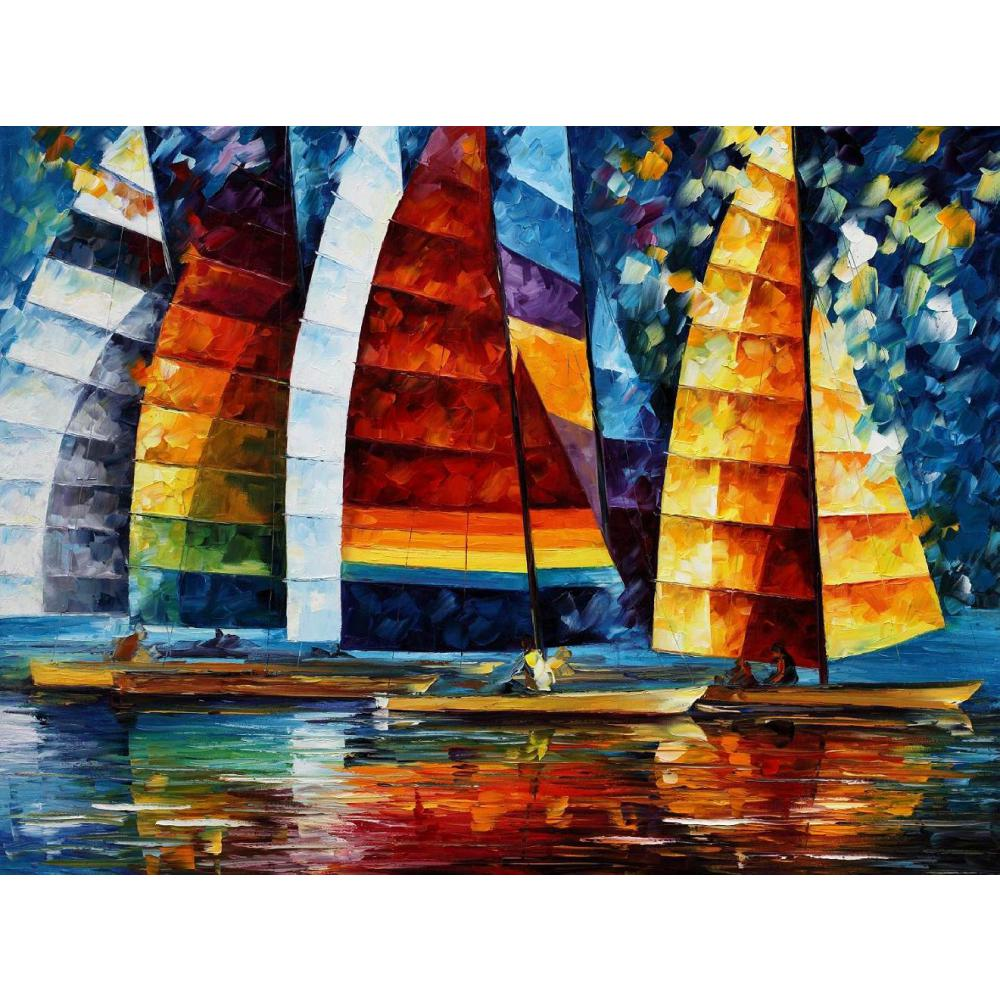 Canvas wall pictures pop art sea regatta palette knife oil painting landscape modern home decor