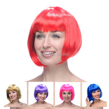 Free shipping New Fashion colorful wigs Peruk Straight Hair Hot Sale Synthetic Fiber Short Bob Wig party Wigs For Women