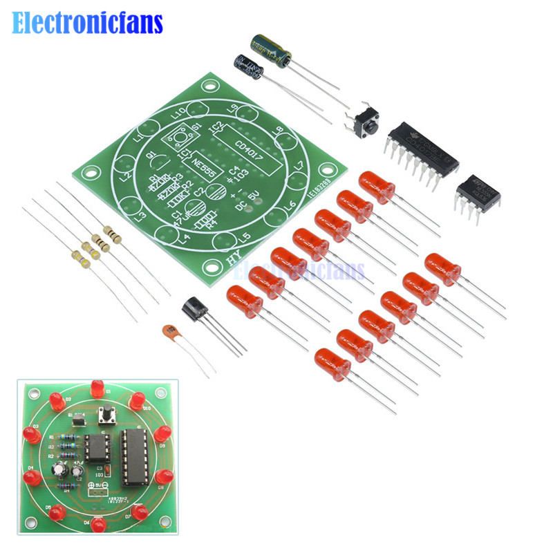 Lucky Rotary Suite Electronic Suite CD4017 NE555 Self DIY LED Light Kits Production Parts And Components 3-5V