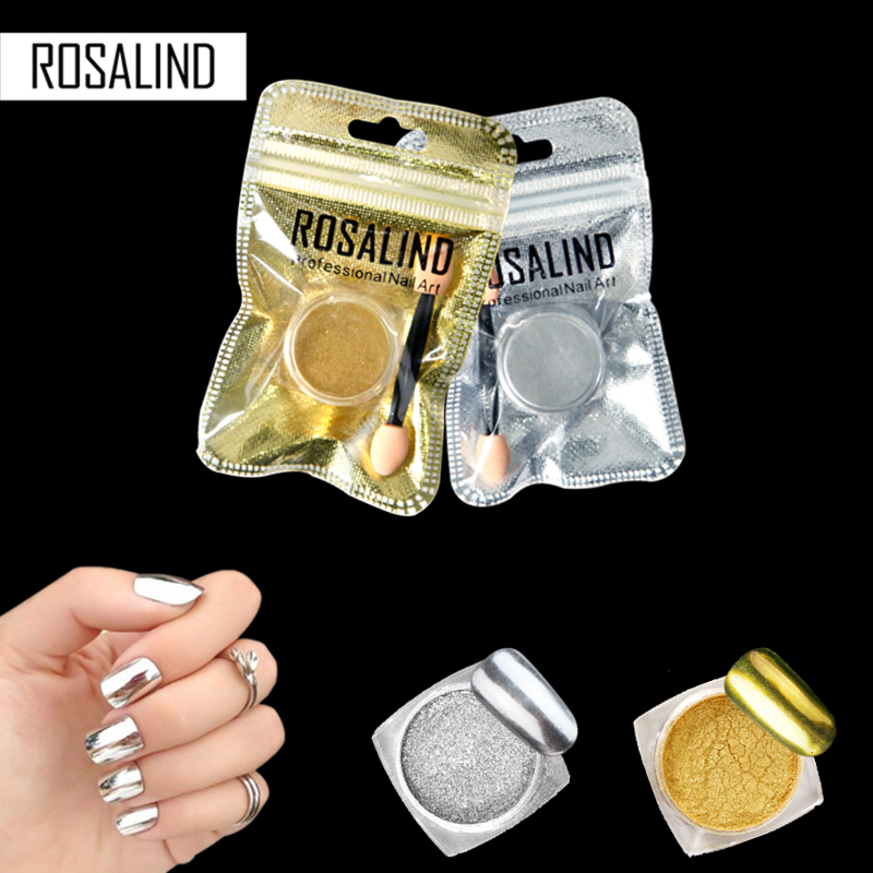 Rosalind Magic Mirror Chrome Powder Metallic Gold Silver Nail Powder With Sponge Stick Makeup Dust Nail Art DIY Pigment Glitters mirror powder gold pigment powder aluminium powder chrome pigment nail glitter nail chrome pigment