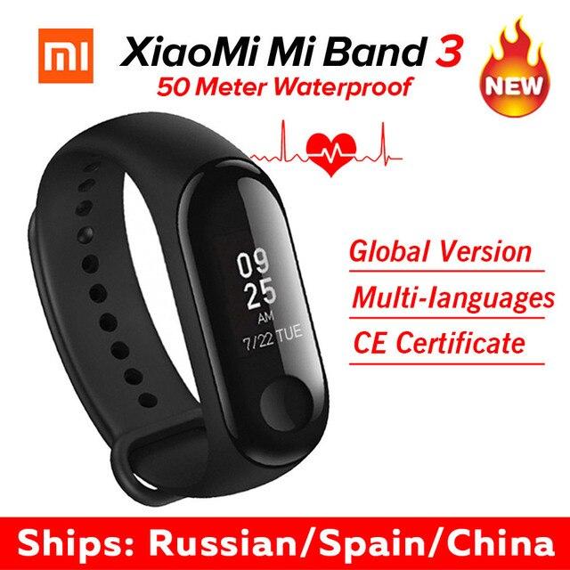 В наличии Xiao mi Band 3 mi band 3 фитнес-трекер пульсометр 0,78 ''OLED дисплей Bluetooth 4,2 для Android IOS
