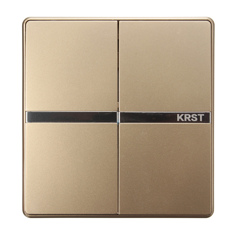 KRST Luxury LED Lighting Switch 2-Gang 1 Way/ 2 Ways/ n Ways Push Button Wall Switches AC 250V 10A 86x86mm Popular krst luxury led lighting switch 2 gang 1 way 2 ways n ways push button wall switches ac 250v 10a 86x86mm popular