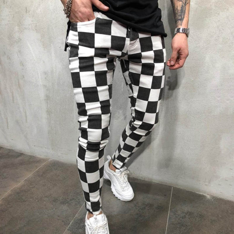 Spring British Style Costumes Hair Stylist Black White Plaid Pants Men Casual Slim Grid Pants Men Feet Trouser