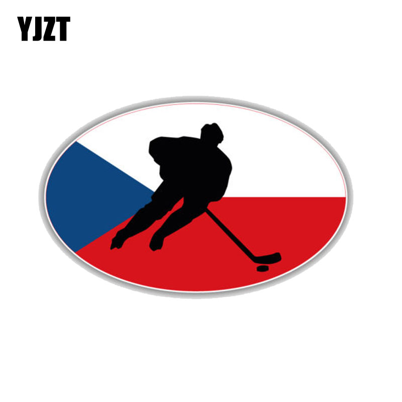 YJZT 11CM*6.8CM Czech Republic Flag Hockey Decal PVC Motorcycle Car Sticker 11-00283