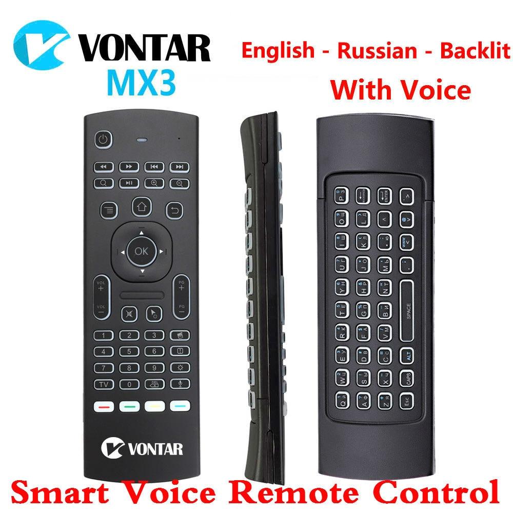 MX3 Air Maus Smart Stimme Fernbedienung Backlit MX3 Pro 2,4G Drahtlose Tastatur IR Lernen Für Android Box T9 h96 Max X96 mini