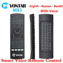 MX3 Udara Mouse Smart Voice Remote Control Backlit MX3 Pro 2.4G Keyboard Nirkabel IR Belajar untuk Android 9.0 TV kotak(China)