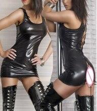 Free Shipping M-2XL Women Pole Dance Erotic Clothes PVC Faux Leotard Unitard Leather Sexy Lingerie Latex  PVC Dress