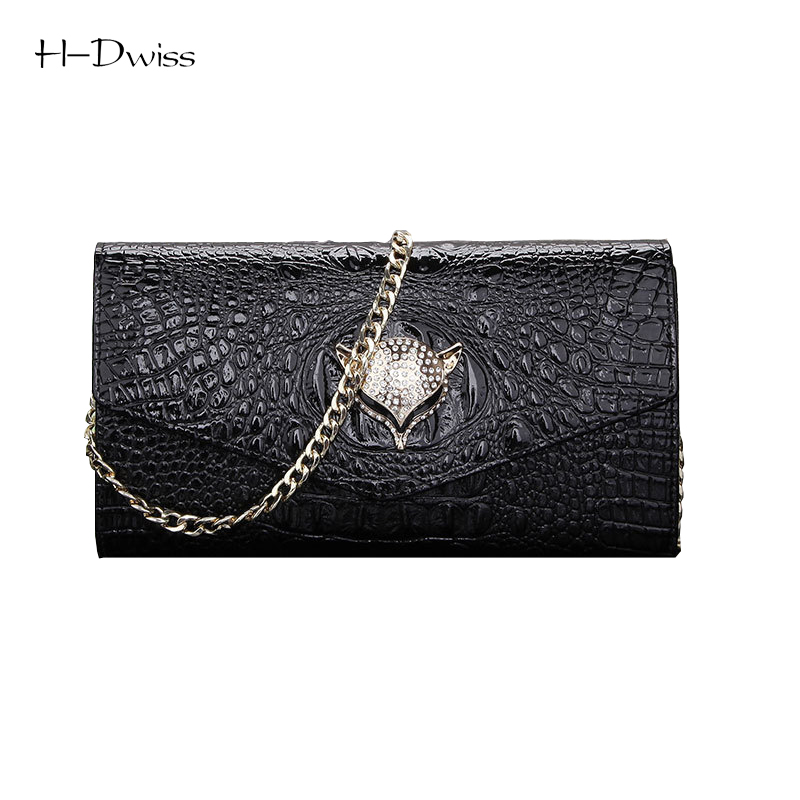 ФОТО HDWISS Fox Head Crocodile Pattern Genuine Leather Evening Clutch Bags Designer Handbags High Quality Women Messenger Bag WHB006