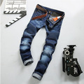 2016 Autum Mens Distressed Jeans Ripped Slim Straight Dark Washed Denim Slim Straight Cargo Pants Pleated Baggy Casual Pants 550