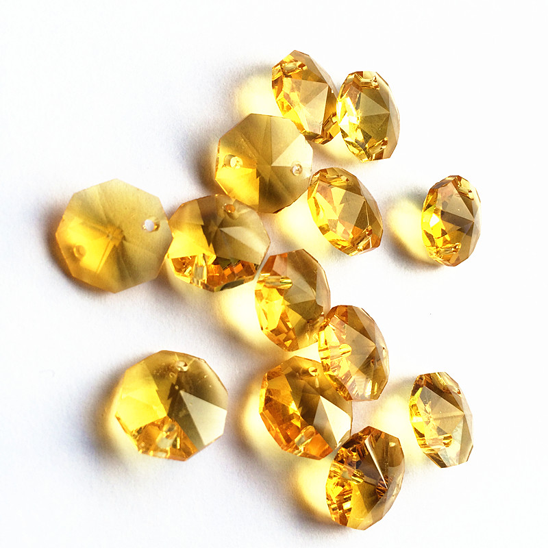 Free Shipping 500pcs lot 14mm Gold Crystal octagon beads in 2 holes For Glass beads Garland