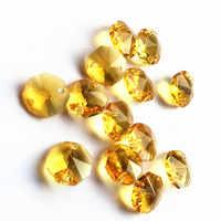 Freies Verschiffen 500 teile/los 14mm Gold Kristall octagon perlen in 2 löcher Für Glas perlen Girlande stränge Kristall kronleuchter perlen