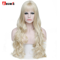AOAIWIG Long Wavy Curly Wigs Blonde Hair Heat Resistant Synthetic Female Cosplay Wigs For Black White