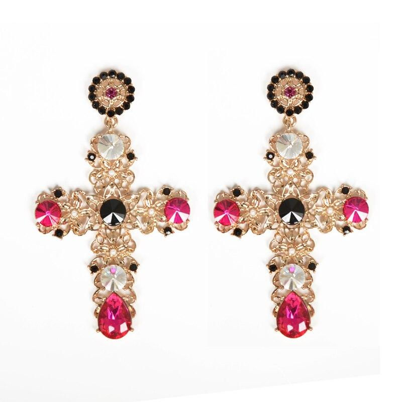 Baroque Luxury Gold Color Crystal Cross Drops Earrings Pearl ...