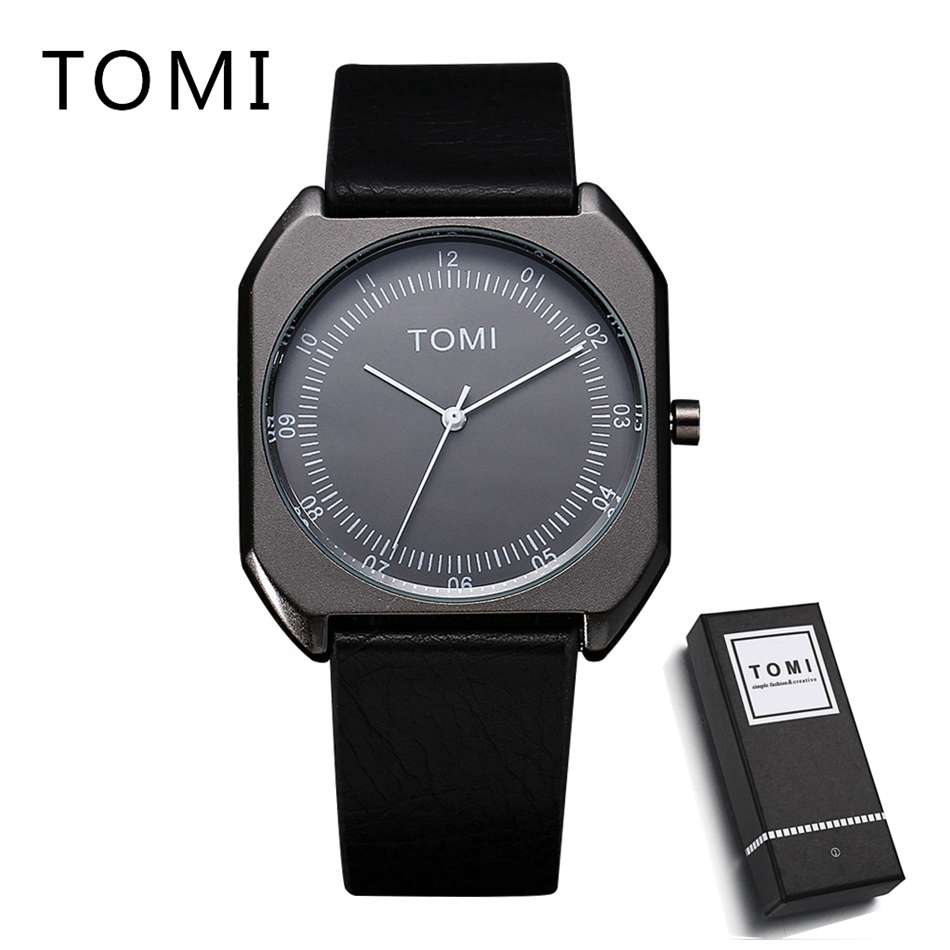 TOMI Business Men Wrist Watch PU Leather Women Watches Brand Luxury Famous Ladies Casual Quartz Watch Gift Female Clock silver watches men women luxury brand famous quartz wrist watches for men leather waterproof business fashion casual dress watch