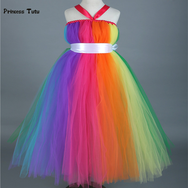 Colorful Rainbow Tutu Dress Long Princess Costume Kids Girls Party Birthday Photo Tulle Dress Children Wedding Flower Girl Dress gorgeous pink and white girls tutu dress with headband princess birthday party wedding costume photo props tulle dress ts110