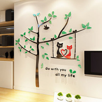 Cartoon Cat Tree 3d Crystal Acrylic dimensional wall stickers Living room bedroom children's room decoration