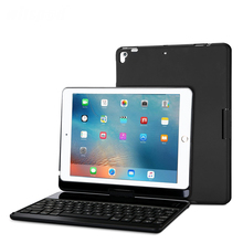 witsp@d-For NEW IPAD 9.7 Inch 2018 360 Rotation Keyboard Case, 7 Colors Backlit Folio Cover Wireless Bluetooth Metal Keyboard
