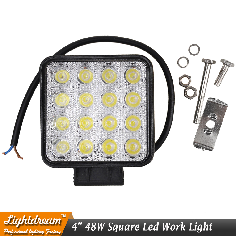 4 Inch 48W LED Work Light for Indicators Motorcycle Driving Offroad Boat Car Tractor Truck 4x4 SUV ATV 12V led worklamp x1