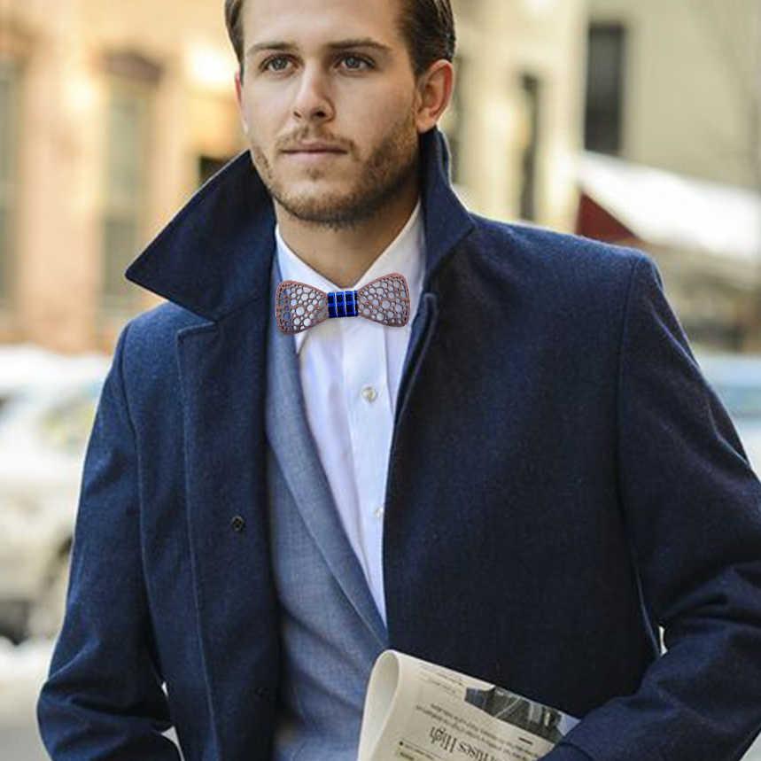 บุรุษชุดผูกโบว์สำหรับงานแต่งงานชุดไม้ Bowties เข็มกลัดผ้าเช็ดหน้า Cufflinks ชุด Gravatas Slim เสื้อผูก