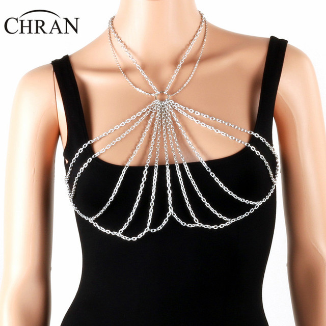 8ebe00363e4777 Chran Women Chain Bra Bralette Top Dress Decor Chainmail EDC Outfit Harness  Necklaces Festival Wear Ibiza