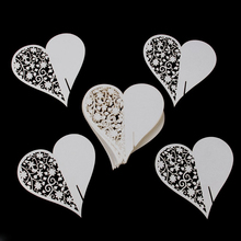50PCS Hollow Love Heart Happy Gifts High Quality Wedding Decoration Wedding Table Paper Place Card Escort Name Card Wine Card(China)