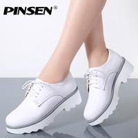 PINSEN Spring Women Flat Platform Shoes Oxfords Genuine Leather Lace Up Flats Shoes Female Casual Creepers