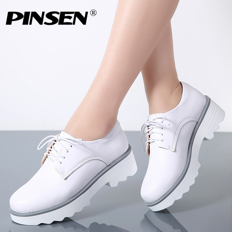 PINSEN Spring Women Flat Platform Shoes Oxfords Genuine Leather Lace Up Flats Shoes Female Casual Creepers Heels Ladies Shoes women oxfords flats shoes leather lace up platform shoes woman 2016 brand fashion female casual white creepers shoes ladies 801