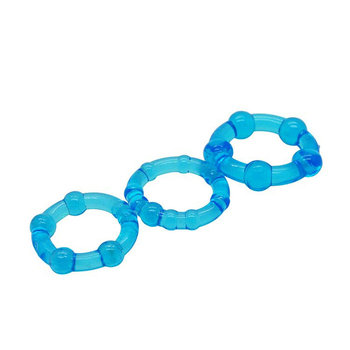 Sexyland ( Blue ) Beaded Triple Time Delay Penis Rings Cock Rings Set for Man, Erotic Sex Toys Adult Sex Products for Couple