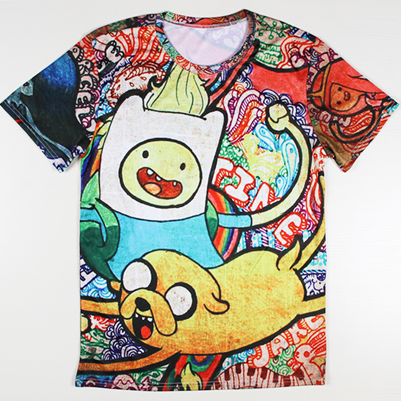 Hiphop Manner Mode 3d T Shirts Adventure Time Printed Casual Strasse