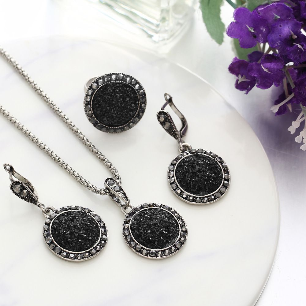 4Pcs/set Vintage Crystal Round Jewelry Set Bijoux Charm Pendant Necklaces Drop Earrings Party Jewelry Set Gift