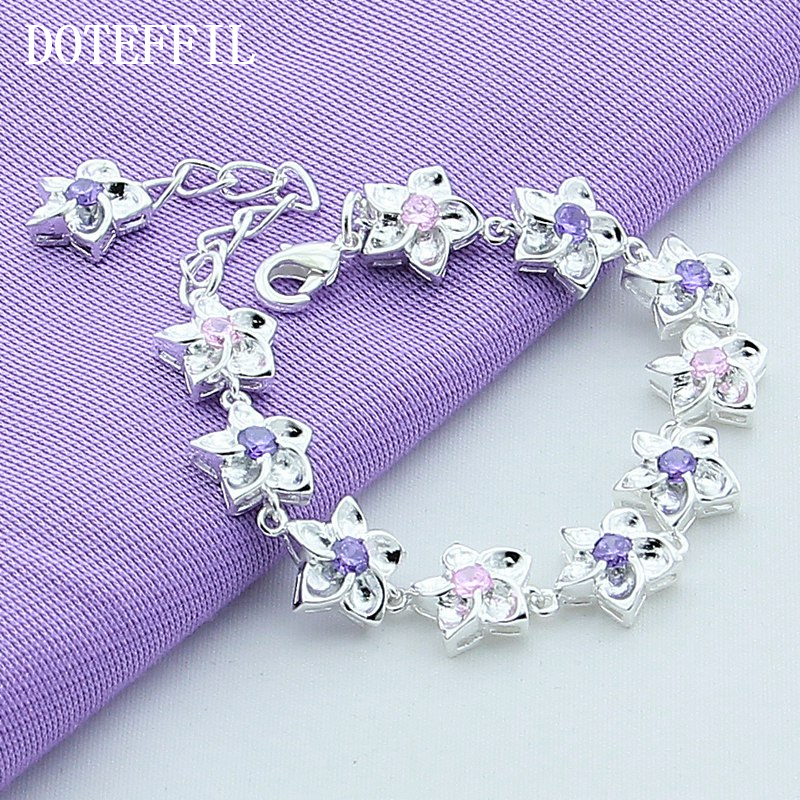 High Fashion Designer Sterling Silver Bracelet Purple CZ Crystal Bracelet Woman Luxury Jewelry Plated Silver Bracelets