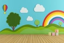 Купить с кэшбэком Laeacco Rainbow Backgrounds Baby Toys Brick Cloud Wooden Floor Green Tree Cartoon Photography Backdrops Photocall Photo Studio