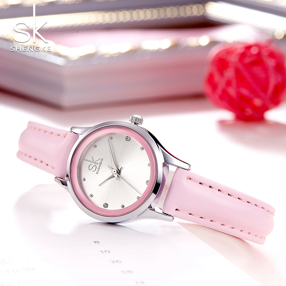 Shengke Brand Fashion Women Watches Leather Wrist Watches Ladies Casual Analog Silver Case Quartz Watch Relogio Feminino Gift SK women fashion watches rose gold rhinestone leather strap ladies watch analog quartz wristwatch clocks hour gift relogio feminino