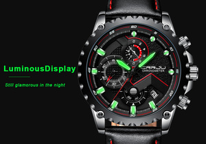 Image 5 - New Fashion Sports Quartz Men Watches CRRJU Relogio Masculino Clock Mens Top Brand Luxury Military Leather Waterproof Watch men