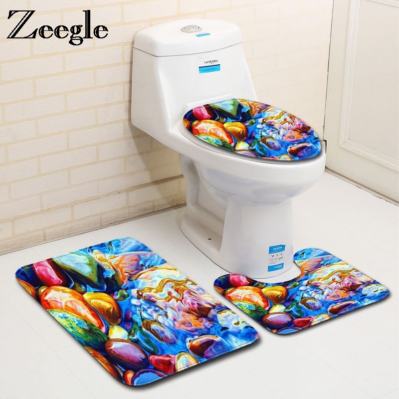 Zeegle 3pcs Bathroom Mat Set Non Slip Bathroom Rug and ...