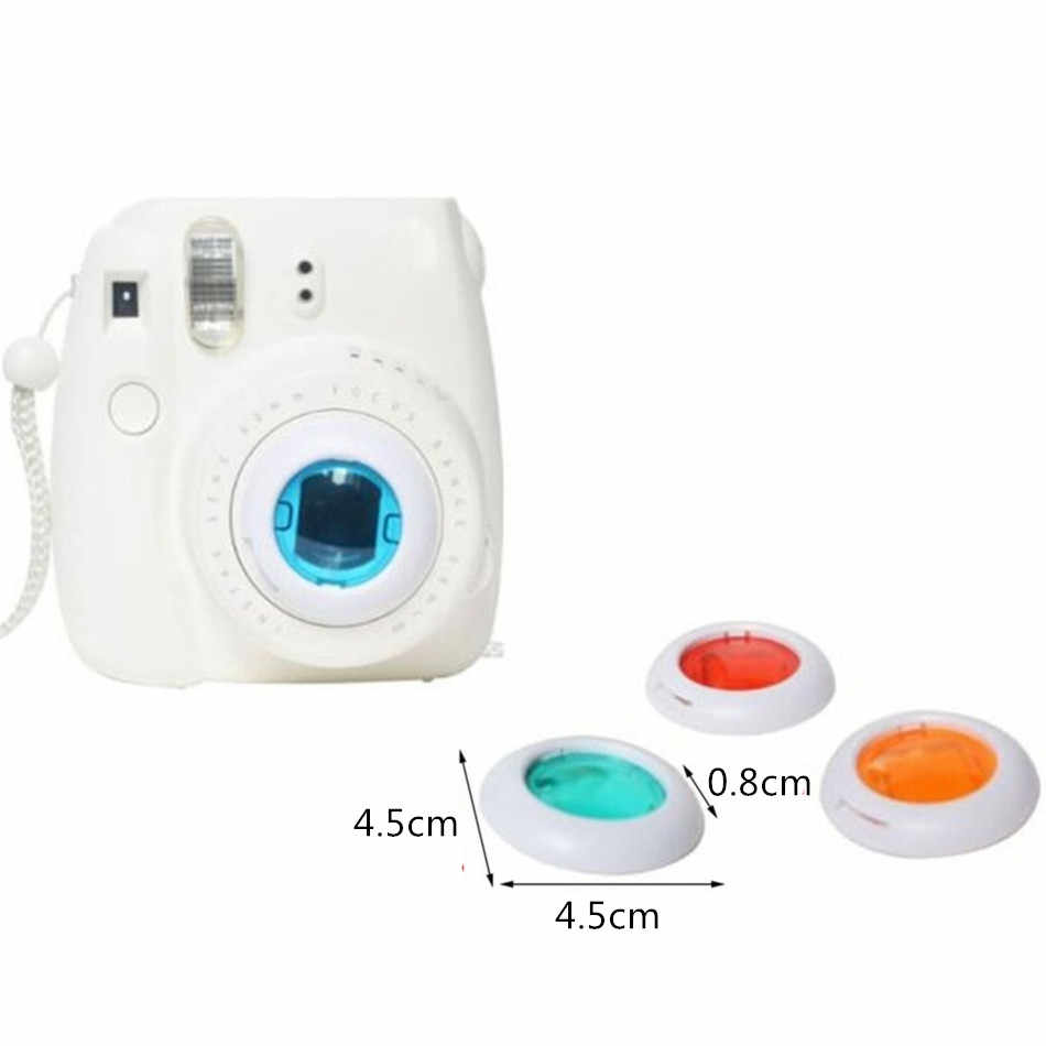 Waterlowrie filtro colorido, 4 peças de filtro de lentes fechada para fujifilm instax mini 7s 7 8 8 + 9 câmeras de filme instantâneas, acessórios fotográficos