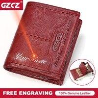 GZCZ Small Genuine Leather Women Wallet Coin Pocket Female Red Purse Portomonee Lady Mini Walet Credit