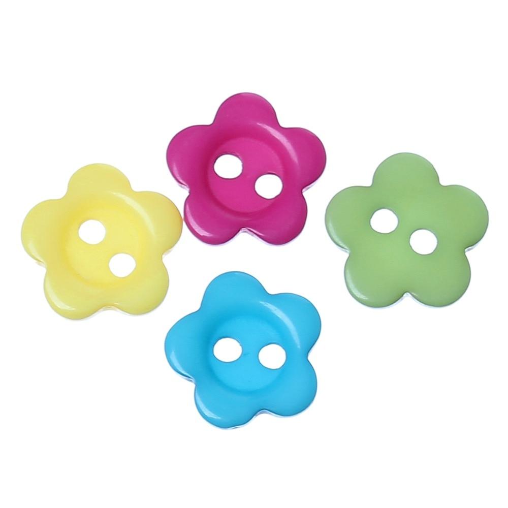 """DoreenBeads полимерная пуговица для шитья скрапбукинга DIY украшения цветок разные на два отверстия 10,5 мм(3/"""") х 10 мм(3/8""""), 30 шт"""