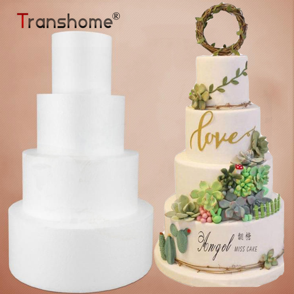 Transhome Cake Dummy Modelling Foam-Mould Sugar-Craft Round Party Plastic DIY 4/6/8/10inch