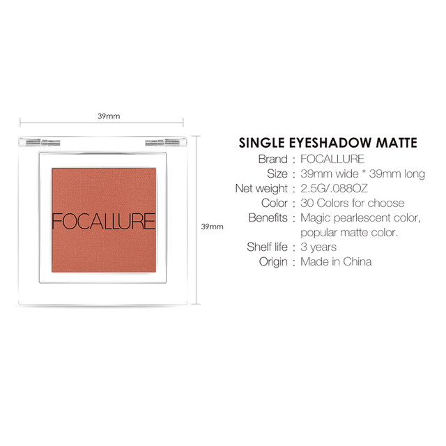 FOCALLURE Matte single Eyeshadow professional top quality powder pigmented shadow nude easy to wear matte eye shadow 4