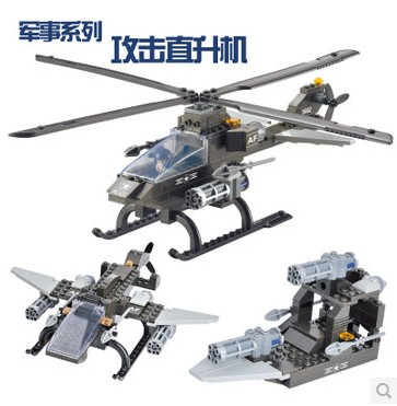 ФОТО WOMA 35423 Armoured Attack Fighter Helicopter 3 in 1 Model Building Block Sets 114pcs Educational DIY Bricks Toys