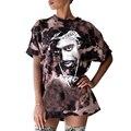 Camisa de T Das Mulheres 2017 Novo Verão de Manga Curta Solta Longo Furos de Festivais de Música Tshirt Tupac Impresso Camisetas Mujer Topos Do Punk